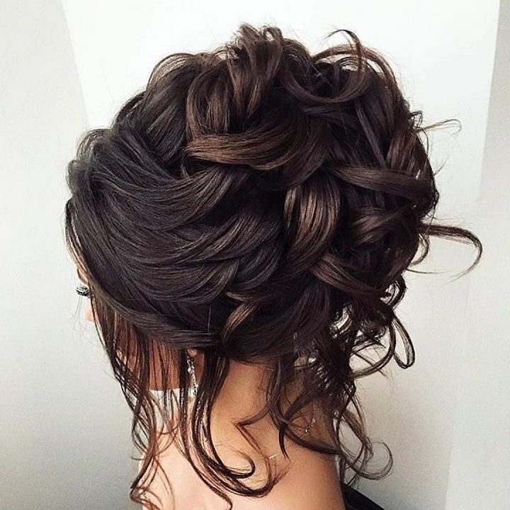 Bridal Updo Loose Curls | Loose Curly Updo, Romantic Wedding In Recent Loose Updos For Curly Hair (View 13 of 15)