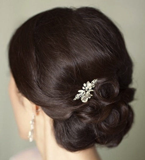 Brunette Curly Chignon Updo – Prom, Wedding, Party, Formal, Awards Regarding Most Recently Chignon Updo Hairstyles (View 8 of 15)