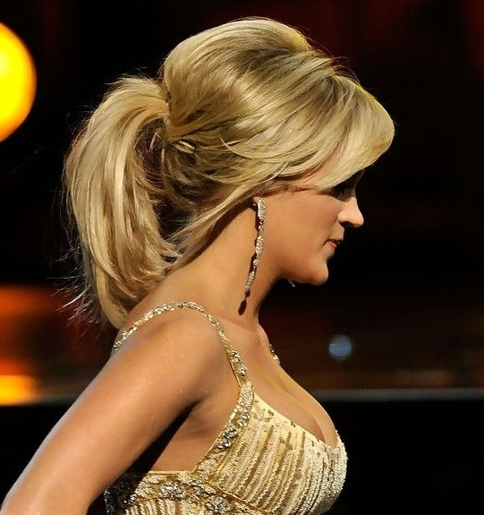 Carrie Underwood Teased Ponytail Hairstyle | Teased Ponytail Intended For Current Teased Updo Hairstyles (View 7 of 15)