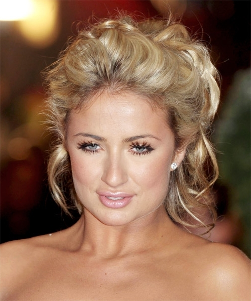 Chantelle Houghton Updo Medium Curly Casual Updo Hairstyle With Most Current Casual Updos For Curly Hair (View 13 of 15)