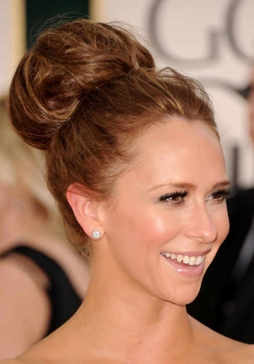 Classic Full Volume High Bun Updo – Jennifer Love Hewitt Hair Pertaining To Most Recent High Updo Hairstyles For Medium Hair (View 14 of 15)