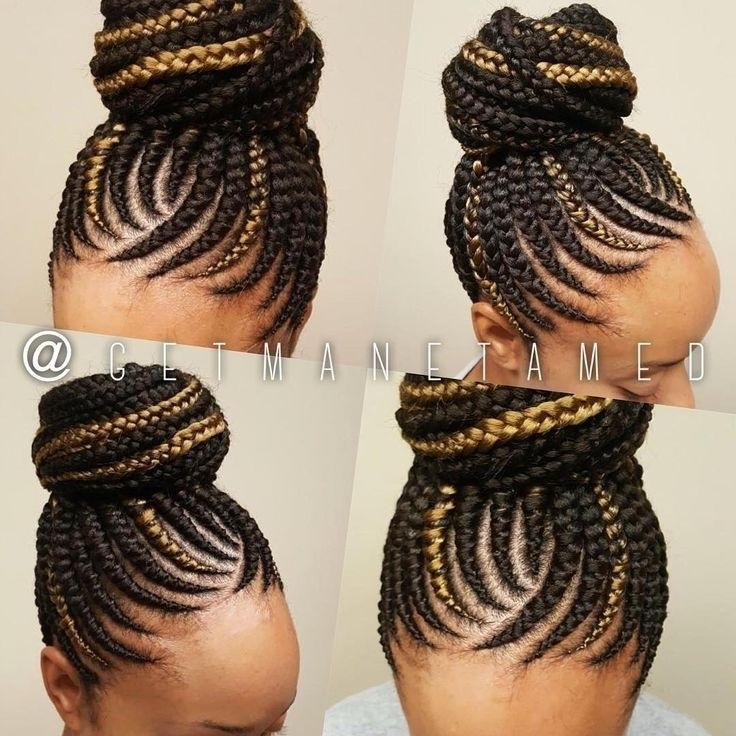 Cornrow Braided Ponytail Hairstyles Solution In Latest Cornrow Updo Ponytail Hairstyles (View 6 of 15)