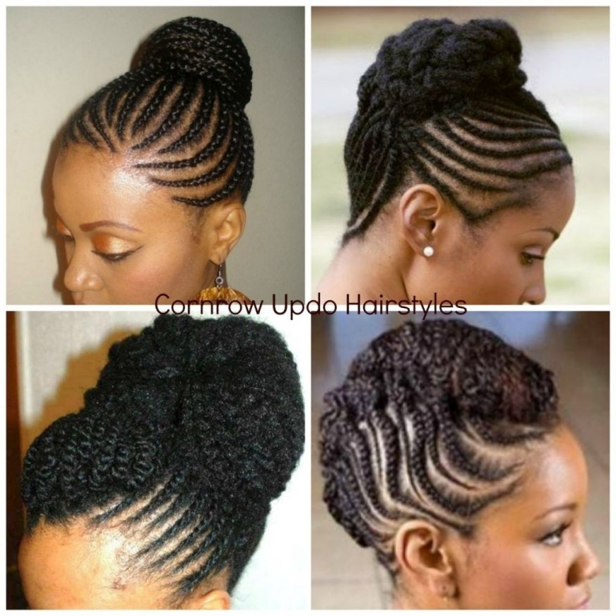 Cornrow Braided Updo Hairstyles Cornrow Updo Natural Hair | Latest Pertaining To Most Popular Natural Updo Hairstyles With Braids (View 12 of 15)