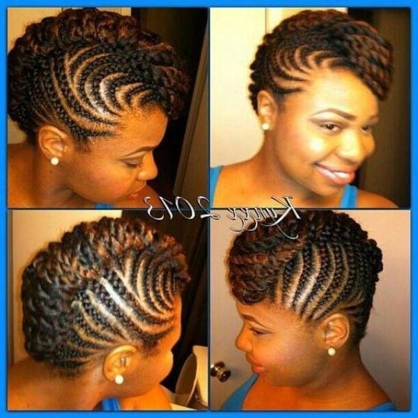 Cornrow Braids With Mohawk Updo | Cornrow Braids Updo Hairstyle With Most Recently African Braids Updo Hairstyles (View 8 of 15)