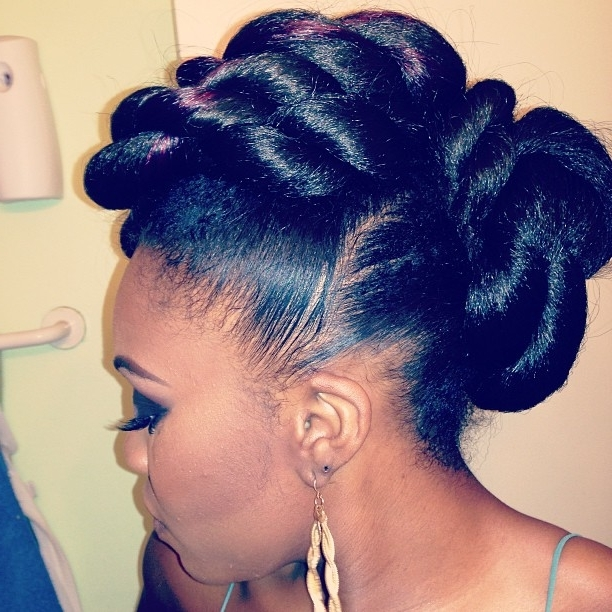 Cornrow Bun | Stepstep: How To Do A Double Rope Bun Updo On Inside Latest Twisted Bun Updo Hairstyles (View 12 of 15)