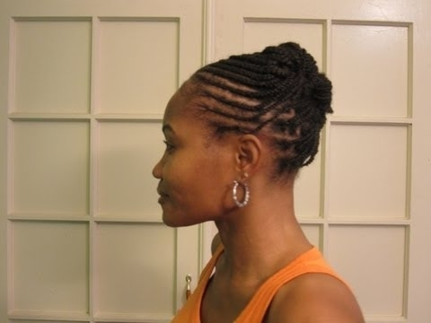 Cornrows & Box Braids (Braided Updo Hairstyle) – Youtube Throughout Current Cornrow Updo Hairstyles (View 15 of 15)