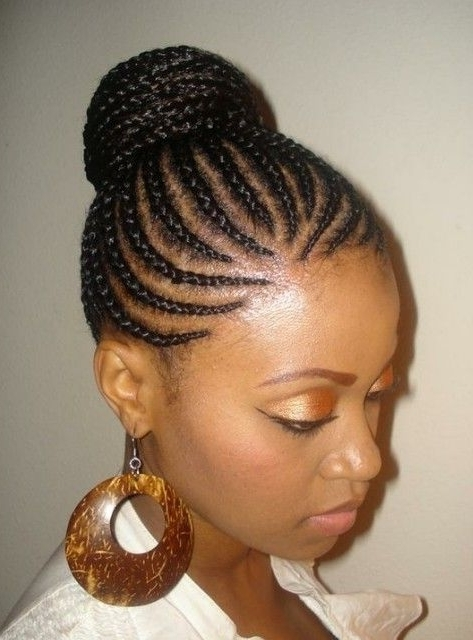 Cornrows Bun Updo For Women | Cornrow Braid Styles, Black Braid For Most Current Cornrow Updo Hairstyles (View 11 of 15)