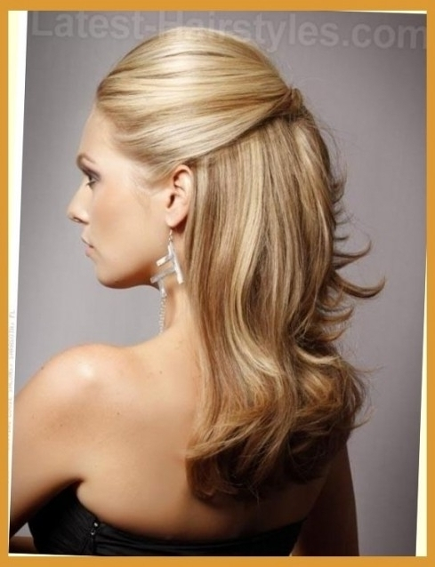 Curly Hairstyles For Prom For Medium Length Hair Half Uphalf Up Regarding Most Recently Half Hair Updos For Medium Length Hair (View 7 of 15)