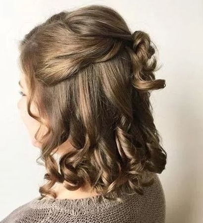 Curly Half Updo For Medium Length Hair 2018 | Half Updo, Medium With Regard To Best And Newest Half Hair Updos For Medium Length Hair (View 8 of 15)