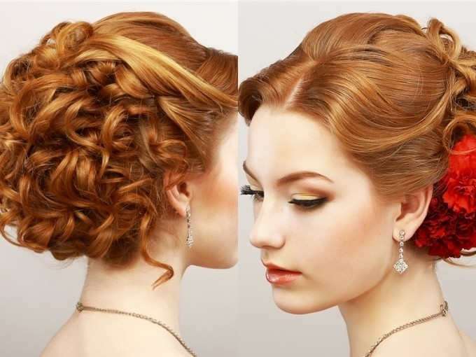 Curly Prom Updo Hairstyle For Diamond Oval Faces | Medium Hair Within Most Recent Curly Updo Hairstyles For Medium Hair (View 12 of 15)