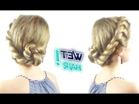 Cute Hairstyle For Wet Hair Easy Rope Bun Updo | Awesome Hairstyles With Current Wet Hair Updo Hairstyles (View 15 of 15)