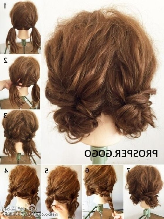 Cute Short Curly Updo #everydayhairstylescurly | Hair Ideas Regarding Most Popular Cute Short Hair Updos (View 5 of 15)