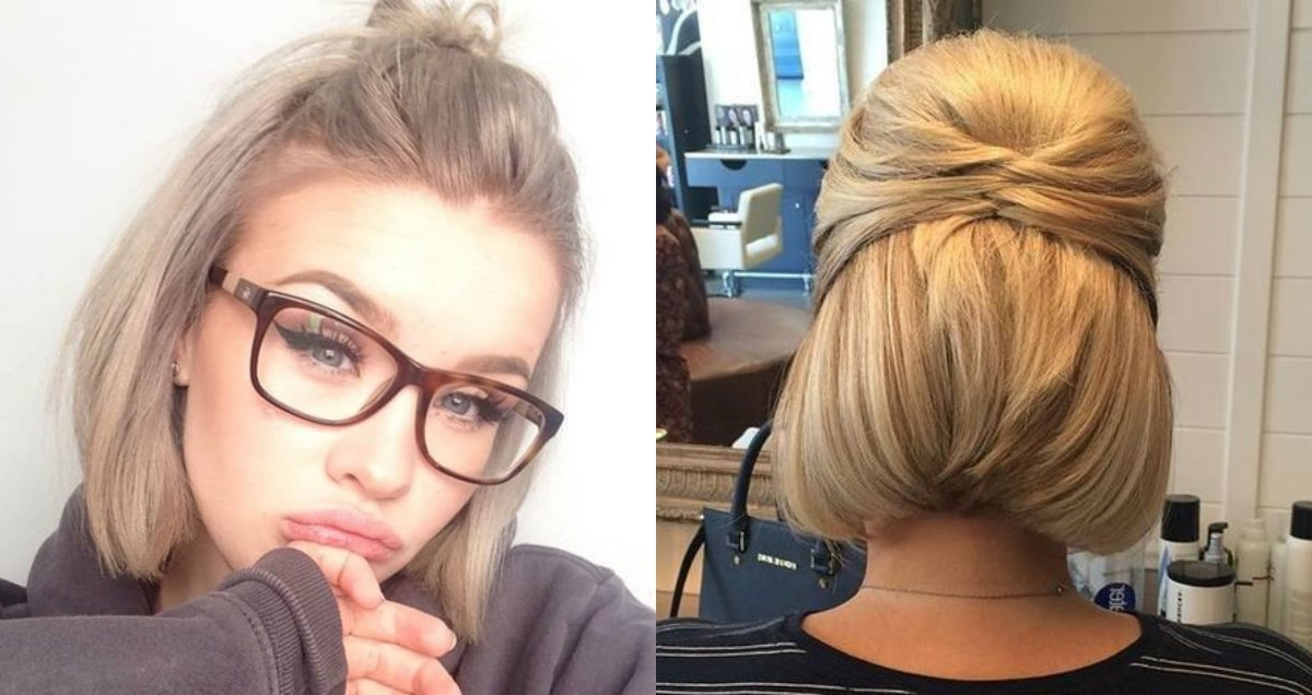 Cute Short Hair Updo Hairstyles You Can Style Today | Hairdrome Inside Best And Newest Cute Short Hair Updos (View 3 of 15)