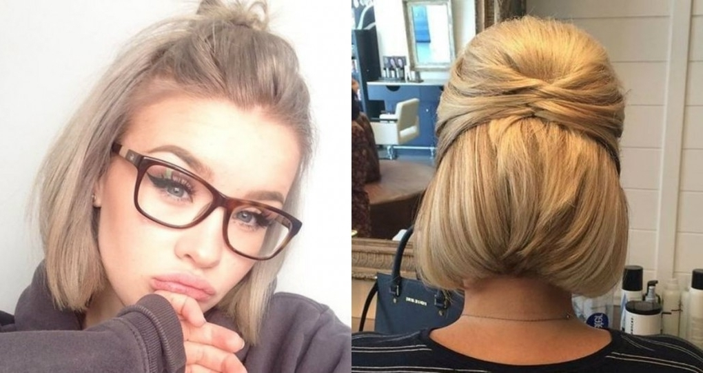Cute Short Hair Updo Hairstyles You Can Style Today | Hairdrome With Regarding Current Updo Hairstyles For Short Hair (View 12 of 15)