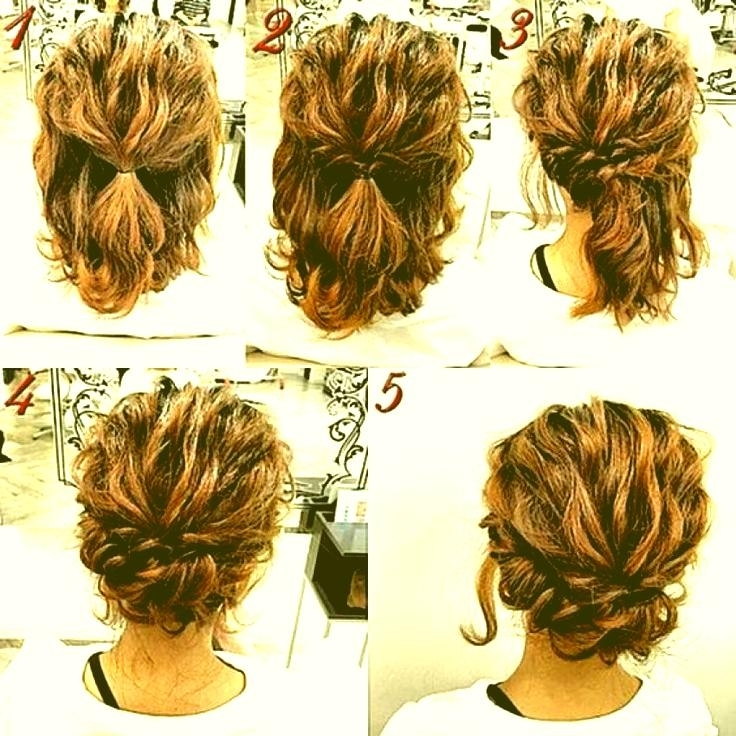 Cute Simple Hairstyles For Short Curly Hair 17 Best Ideas About Regarding Most Popular Diy Updos For Curly Hair (View 5 of 15)