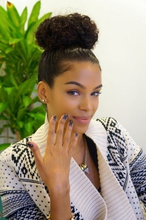 Cute Updo Hairstyles For Naturally Curly Hair – Hairstyles With Inside Most Popular Curly Updo Hairstyles For Black Hair (View 9 of 15)