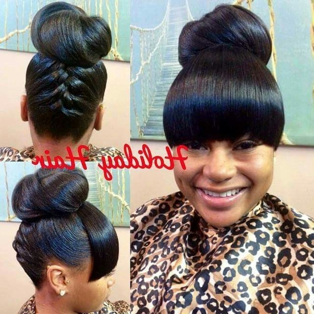 Cute Updo With Bangs | Curls, Buns, Braids, Bobs, Knots, And Twists In Current Updo Hairstyles With Weave (View 9 of 15)
