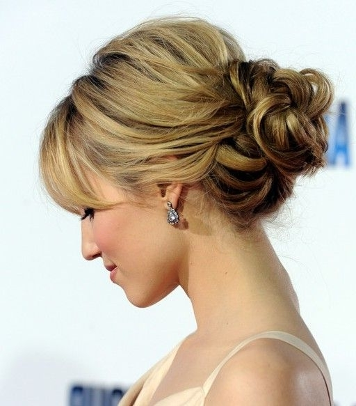 Dianna Agron Loose Bun Updo | Loose Buns, Bun Updo And Dianna Agron With Regard To Newest Low Bun Updo Hairstyles For Wedding (View 5 of 15)