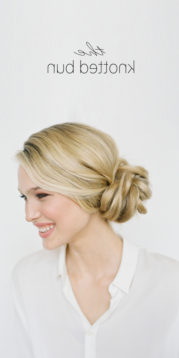 Diy Knotted Bun Wedding Hairstyle | Wedding Hair Updo Ideas Intended For Most Popular Easy Hair Updo Hairstyles For Wedding (Gallery 15 of 15)