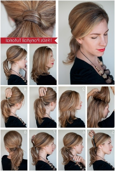 Diy Ponytail Hairstyles For Medium, Long Hair – Popular Haircuts For Recent Ponytail Updo Hairstyles For Medium Hair (View 9 of 15)