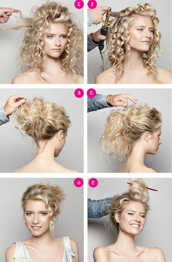 Diy Wedding Hairstyle Video: A Romantic Updo | Curly Wedding In Latest Updo Hairstyles For Medium Curly Hair (View 3 of 15)