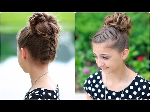 Double French Messy Bun | Updo Hairstyles – Youtube Inside Newest Cute Bun Updo Hairstyles (Gallery 13 of 15)