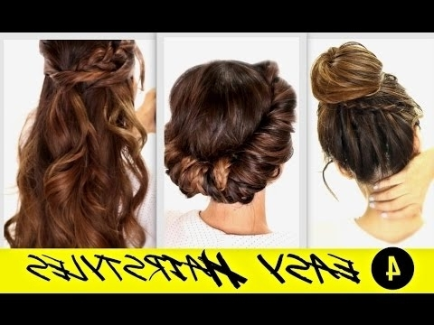 ?4 Totally Easy Back To School Hairstyles | Cute Braided Bun + Half Inside Most Popular Updo Hairstyles For School (View 8 of 15)