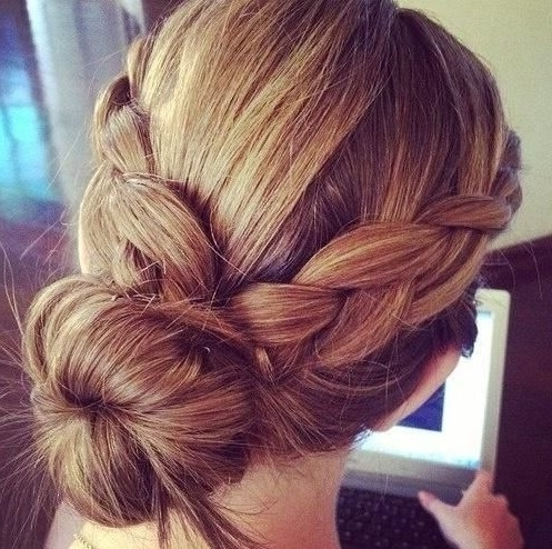 Easy Braided Bun Hairstyle – Popular Haircuts Within Most Popular Easy Braid Updo Hairstyles (View 8 of 15)