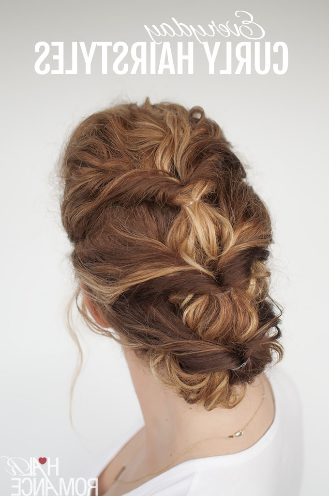Easy Everyday Curly Hairstyle Tutorial – The Curly Twist With Best And Newest Diy Updos For Curly Hair (View 6 of 15)