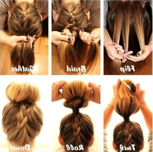 Easy Hairstyles For Curly Hair To Do At Home Braided Back Bun Pertaining To Most Recent Quick Easy Updos For Long Thick Hair (View 6 of 15)