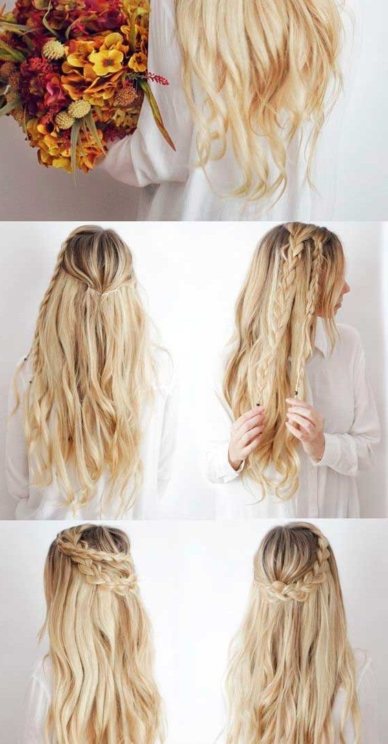 Easy Half Updo Hairstyles For Long Hair Gorgeous Up Down Women Stock With Regard To Most Current Easy Long Hair Half Updo Hairstyles (View 9 of 15)