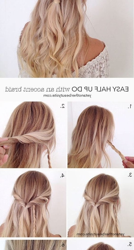 Easy Half Updo Hairstyles For Long Hair Women Stock Photos Hd | Easy With Regard To Newest Easy Half Updo Hairstyles (View 10 of 15)