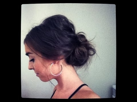 Easy Messy Lower Bun Hairstyle – Youtube With Most Recent Low Messy Updo Hairstyles (View 4 of 15)