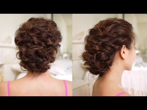 Easy Messy Updo Hair Tutorial – Youtube With Regard To Newest Updos For Curly Hair (View 11 of 15)