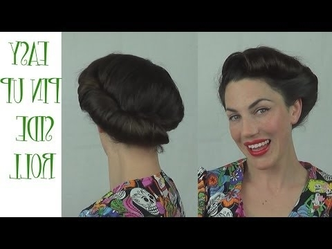 Easy Pinup Hairstyle Side Roll Vintage Retro Updo – Youtube Regarding Best And Newest Easy Vintage Updo Hairstyles (View 7 of 15)