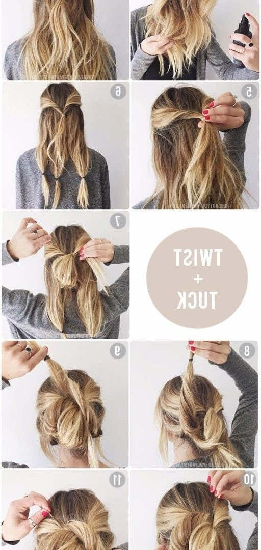 Easy Twisted Bun With Ponytale Big Textured For Long Impressive With Most Up To Date Easy Updo Hairstyles For Long Thick Hair (View 8 of 15)