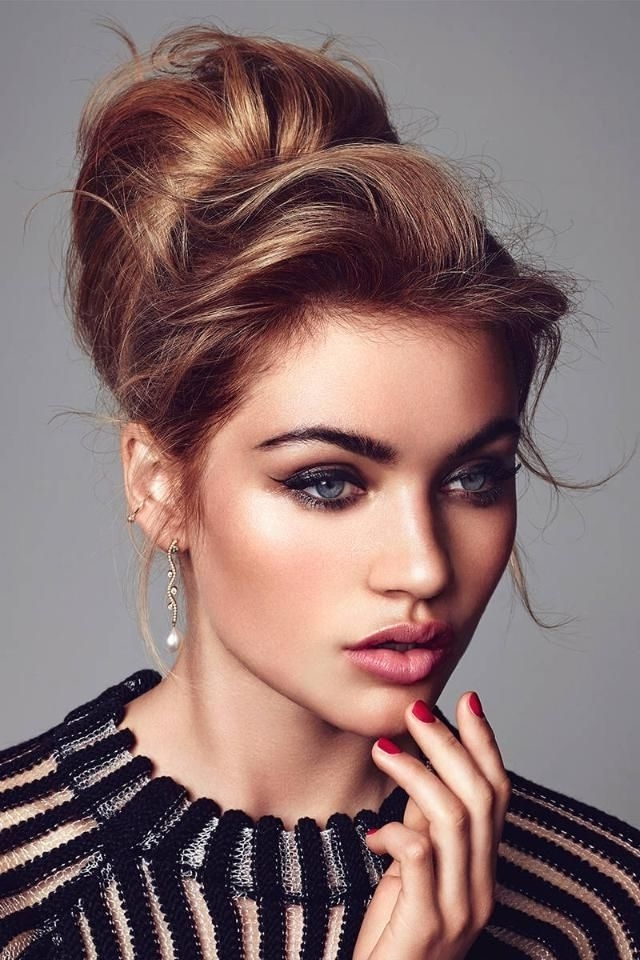 Elegant Bun Hairstyles | New Haircuts To Try For 2018, Hairstyles Regarding Most Current Updo Hairstyles With Bangs (View 10 of 15)