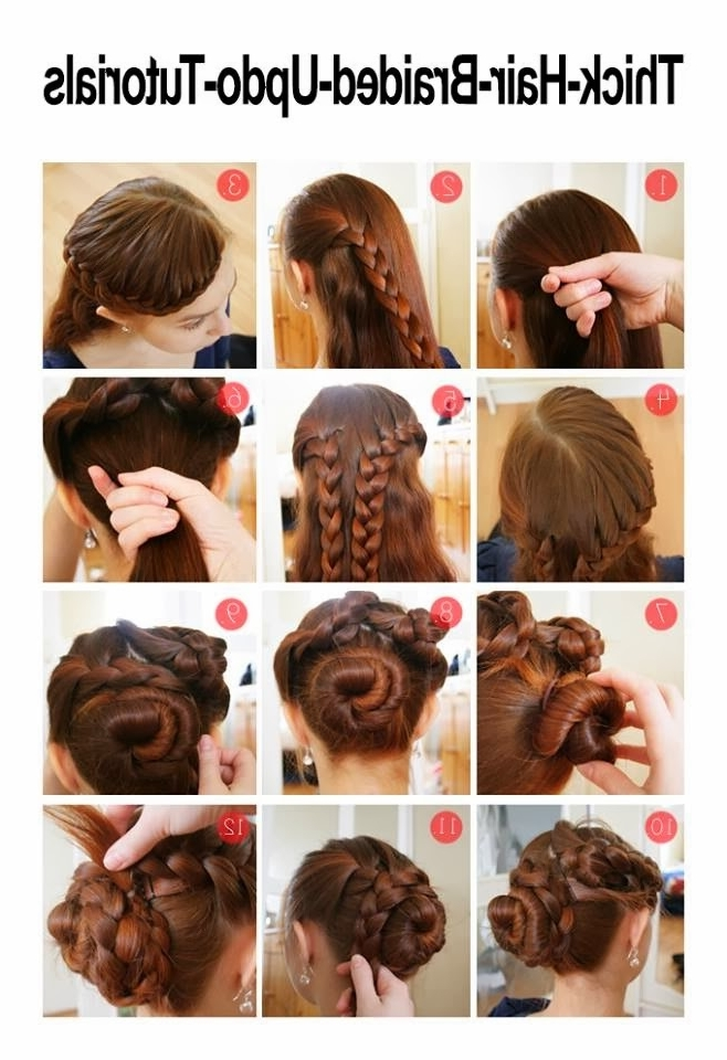 Fashion And Makeup: Gorgeous Braided Hairdo For Thick Hair With Recent Easy Updo Hairstyles For Long Thick Hair (View 13 of 15)