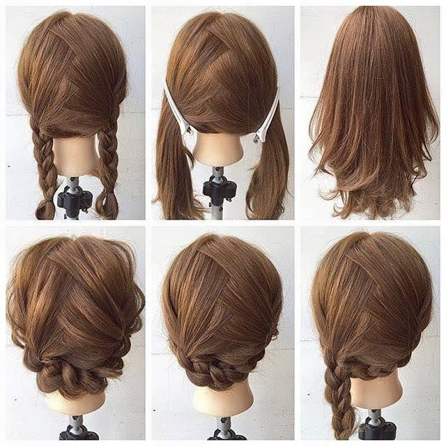 Fashionable Braid Hairstyle For Shoulder Length Hair | Http In Newest Easy Braided Updos For Medium Hair (View 13 of 15)