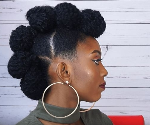 Fierce Faux Hawk Updo On Short Natural Hair Source: Cynthykay Obi With Most Current Natural Hair Updos For Medium Hair (View 9 of 15)