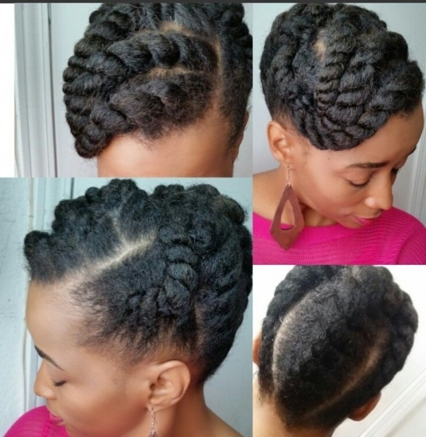 Photos Of Flat Twist Updo Hairstyles On Natural Hair Showing 4 Of