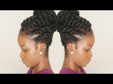 Flat Twist Updo Using Marley Braiding Hair | Winter Protective Style With Most Recent Flat Twist Updo Hairstyles With Extensions (View 6 of 15)
