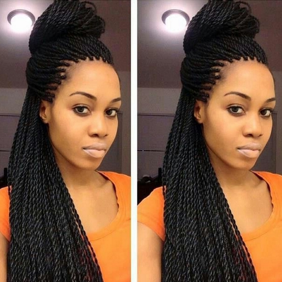 For Long Twist Braids Long Senegalese Twist Updo Within Recent Senegalese Twist Styles Updo Hairstyles (View 9 of 15)