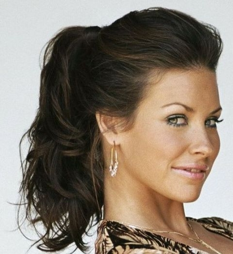 Formal Ponytail Hairstyles | Canadian Actress Evangeline Lilly With Throughout Most Recent Ponytail Updo Hairstyles (View 9 of 15)