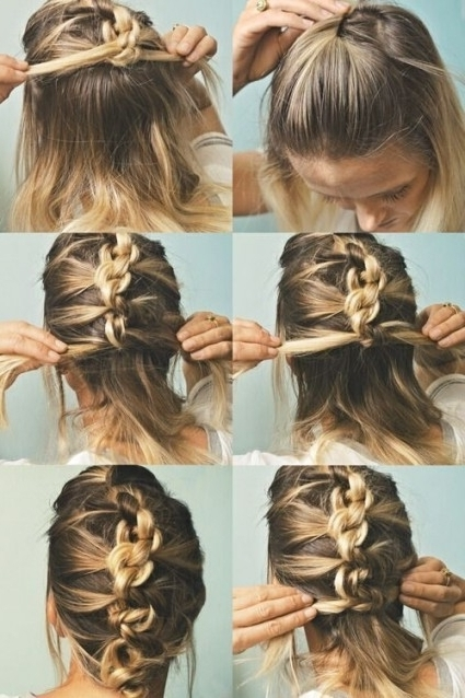 French Braided Updo For Medium Length Hair In Updo Easy Hairstyles Intended For Best And Newest Easy Hair Updos For Medium Length Hair (View 8 of 15)