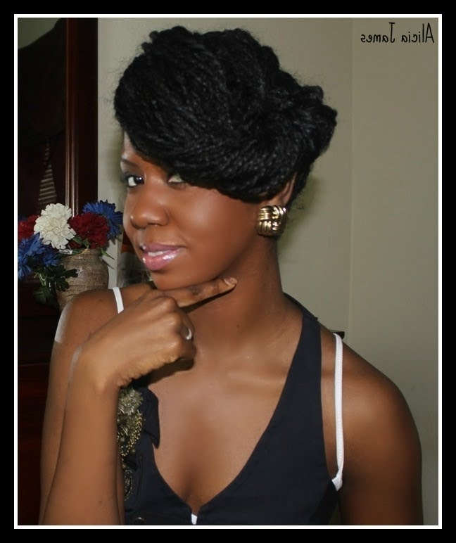 Funky Updo Natural Hairstyle – Two Strand Twist / Braids – Youtube With Recent Braids And Twist Updo Hairstyles (View 12 of 15)