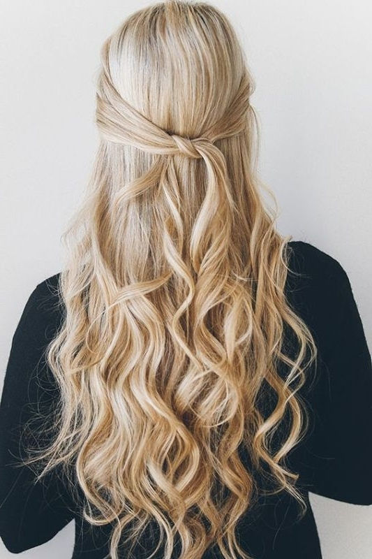 Fuss Free Yet Oh So Pretty Diy Knotted Half Updo Hairstyle – Styleoholic Intended For Most Up To Date Diy Half Updo Hairstyles For Long Hair (View 8 of 15)