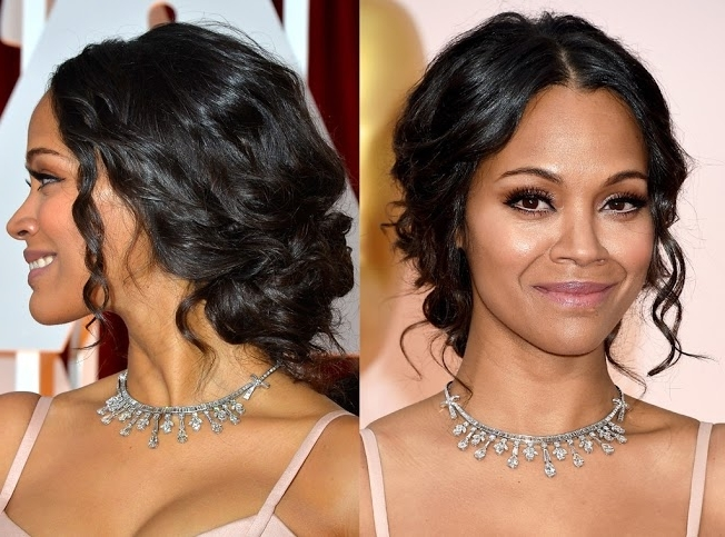 Get The Look: Zoe Saldana's Textured Updo In Latest Hype Updo Hairstyles (View 12 of 15)