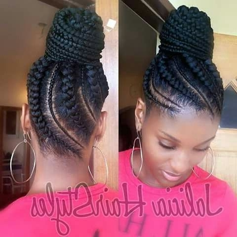 Ghana Braids, Ghana Braids With Updo, Straight Up Braids, Braids In Most Current Cornrow Updo Bun Hairstyles (View 2 of 15)