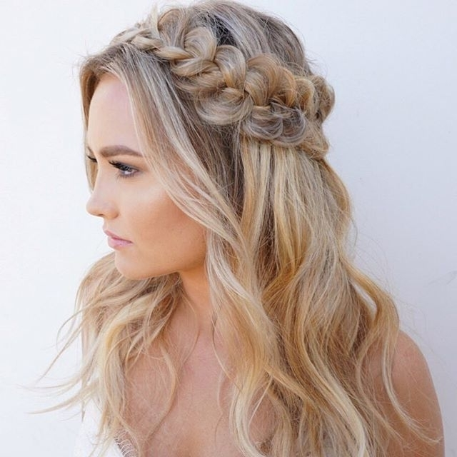 Glowy Skin, Bold Brows, And A Textured Braided Half Up Crown. | Hair In Best And Newest Braided Half Updo Hairstyles (Gallery 6 of 15)